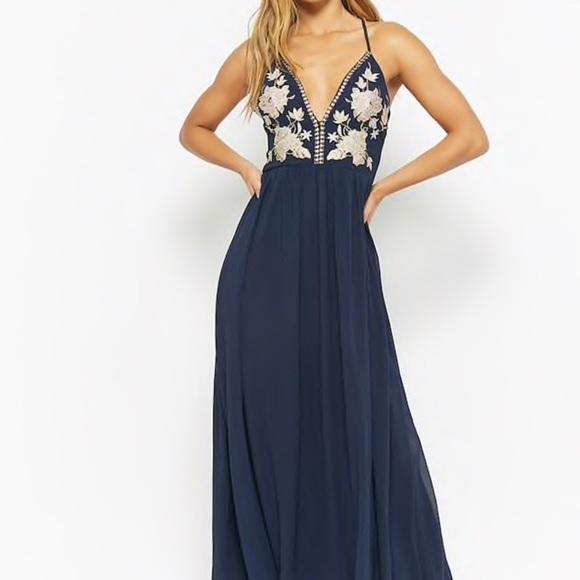 Soieblu Dresses Long Prom Dress Navy Blue Gold Detailing Poshmark